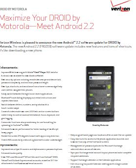 Droid by Motorola Update 2 Android 2.2 FroYo Does Without Tether & Wi Fi Hotspots