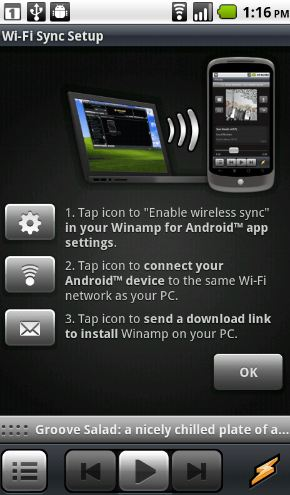 Android an Droid App: Winamp with Wi Fi Sync