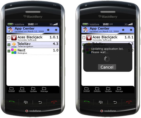 wireless and mobile news blackberry application center