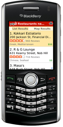yelp for blackberry  storm