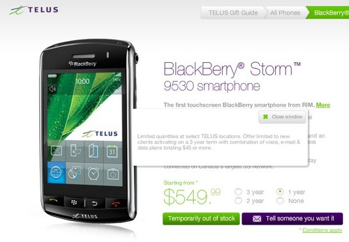 BlackBerry Storm Shortage Continues at Telus