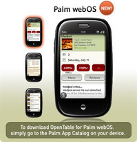 Palm Pre Apps 2Day: OpenTable Earns Free Meals