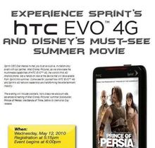 HTC EVO 4G News: HTC EVO 4G Coming Out Party May 12 with Prince of Persia Event