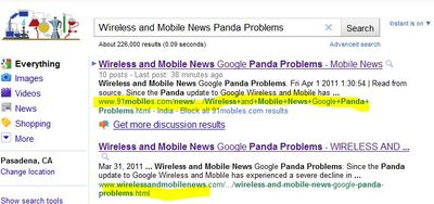 Wireless and Mobile News Google Panda Problems