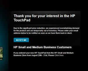 HP TouchPad Deal Update: HP TouchPad Keeps in Touch with Stock Notifications & 15 Off Coupon Code?