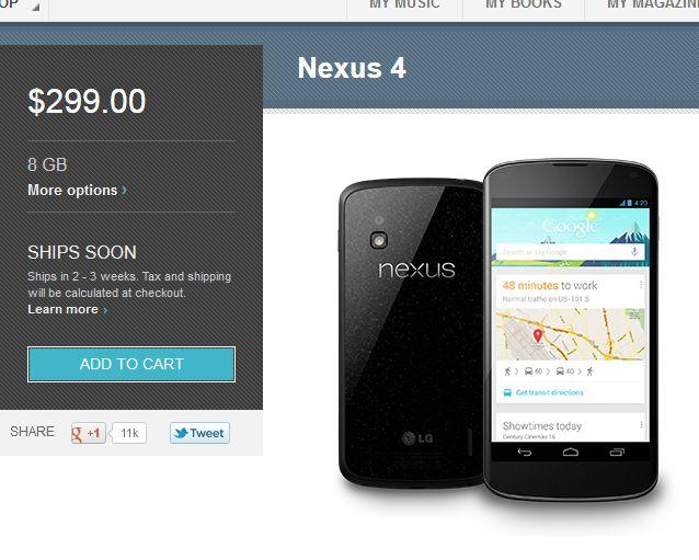 Nexus 4 Ships Soon